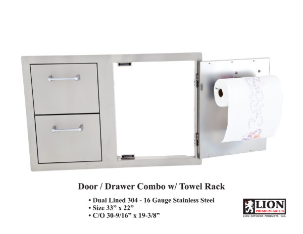 Lion Premium Grills Door Drawer Combo with Towel Rack