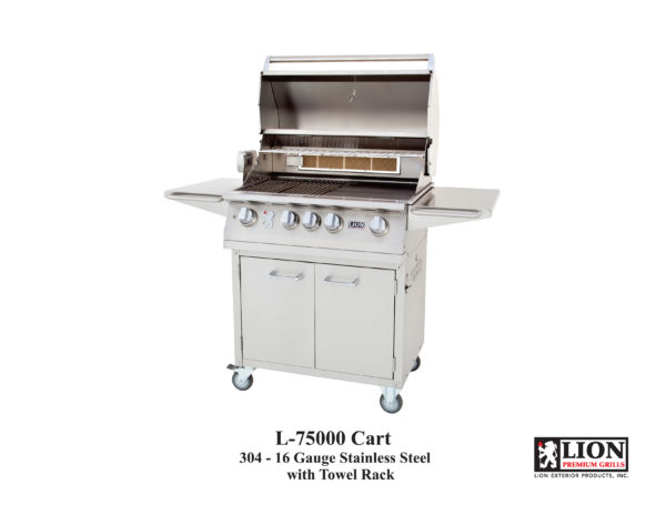 Lion L75000 32 Inch Gas Grill on Cart with Towel Rack