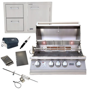 Lion Grill with Door and Double Drawer Component Package Deal