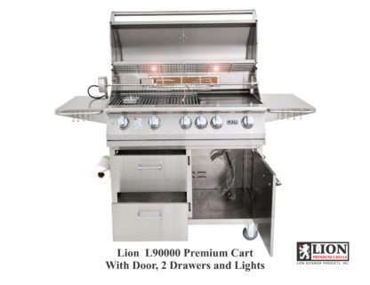 Lion Grills L90000 40 Inch BBQ Gas Grill on Cart with combination door drawer