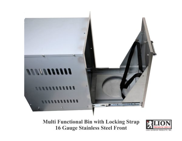 Lion BBQ Multi Functional Bin with Locking Strap 16 Gauge Stainless Steel Front