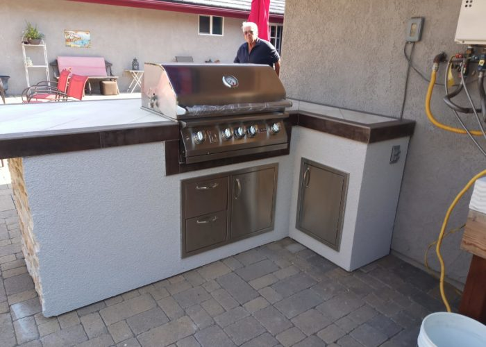 "32"" Lion Built-In Grill L75000 on a Custom Outdoor Kitchen Island"