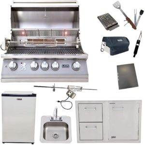 Lion Package Deal – L75000, Door and Drawer Combo, Refrigerator, Sink with Faucet, and 5 in 1 BBQ Tool Set
