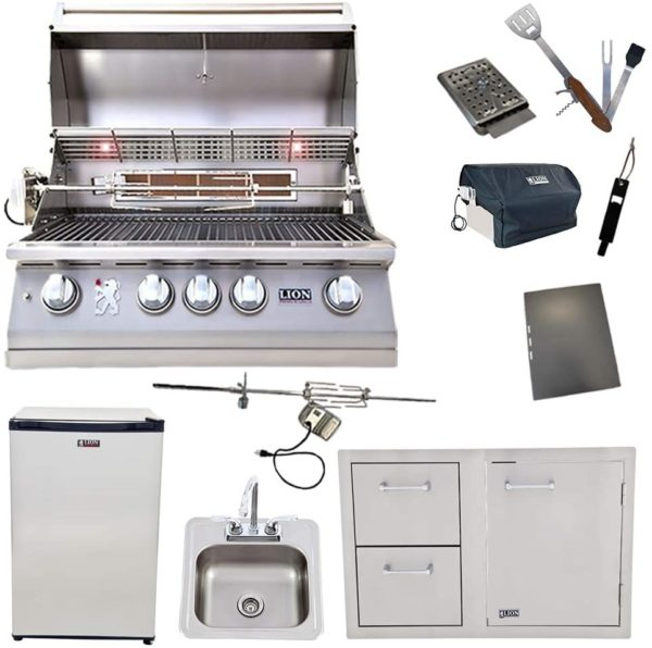 Lion Package Deal - L75000, Door and Drawer Combo, Refrigerator, Sink with Faucet, and 5 in 1 BBQ Tool Set