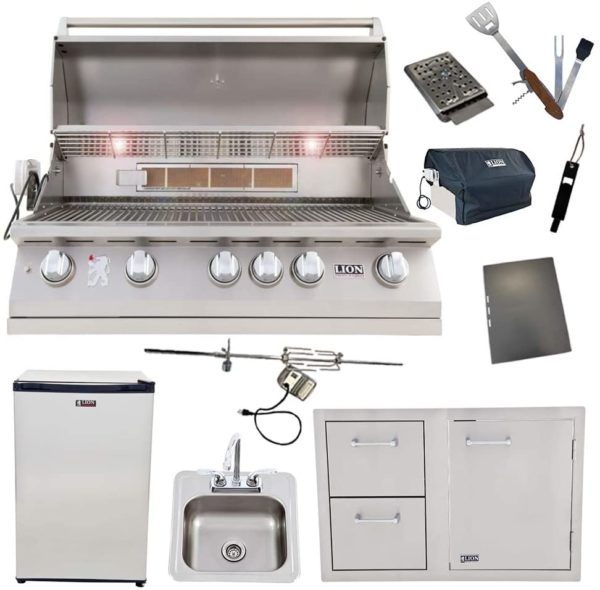 Lion Package Deal - L90000, Door and Drawer Combo, Sink with Faucet, Refrigerator, and 5 in 1 BBQ Tool Set