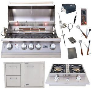 Lion Package Deal – L75000, Door and Drawer Combo, Double Side Burner and 5 in 1 BBQ Tool Set