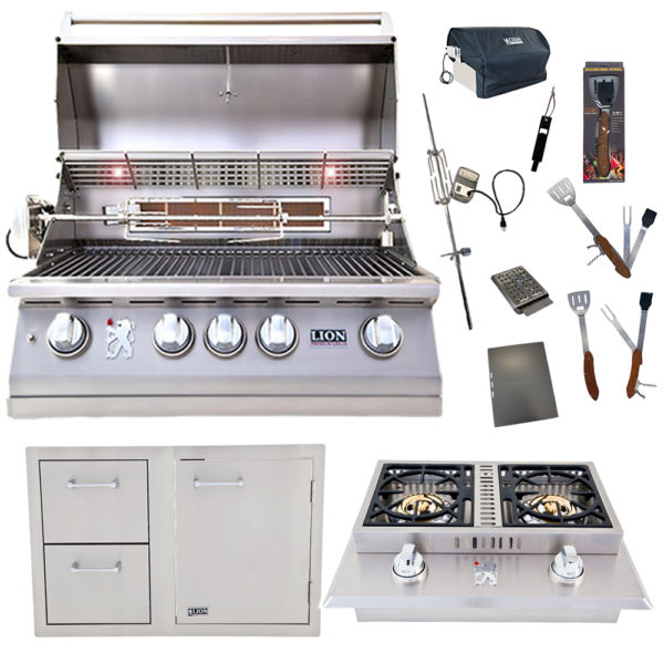 Lion Package Deal - L75000, Door and Drawer Combo, Double Side Burner and 5 in 1 BBQ Tool Set