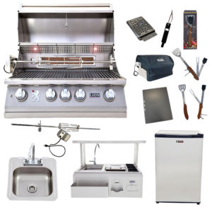 Lion Package Deal – L75000, Bar Center with Top Shelf, Refrigerator, Sink with Faucet, and 5 in 1 BBQ Tool Set
