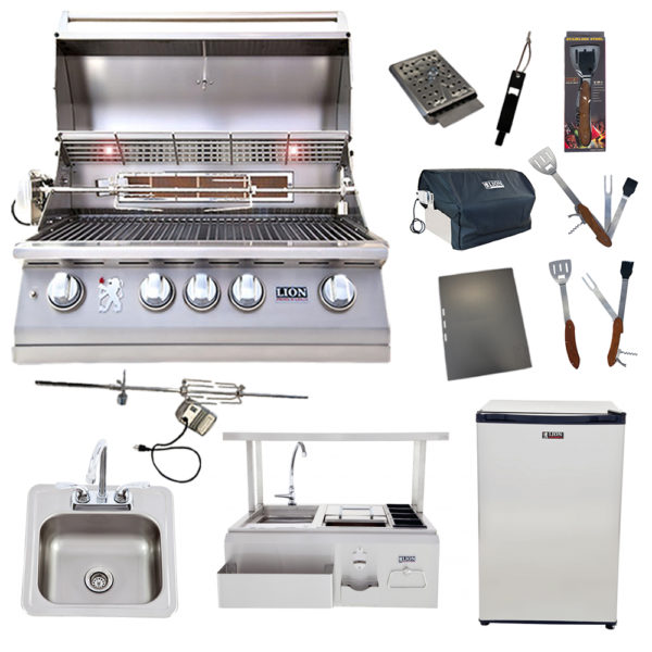 Lion Package Deal - L75000, Bar Center with Top Shelf, Refrigerator, Sink with Faucet, and 5 in 1 BBQ Tool Set