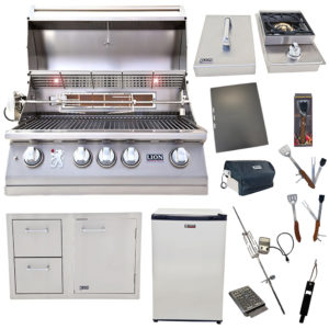 Lion Package Deal – L75000, Single Side Burner, Door and Drawer Combo, Refrigerator, and 5 in 1 BBQ Tool Set