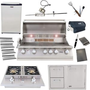Lion Package Deal – L90000, Door and Drawer Combo, Refrigerator, Double Side Burner, Ceramic Tubes, and 5 in 1 BBQ Tool Set