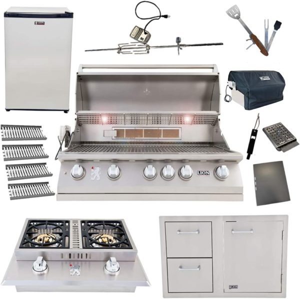 Lion Package Deal - L90000, Door and Drawer Combo, Refrigerator, Double Side Burner, Ceramic Tubes, and 5 in 1 BBQ Tool Set