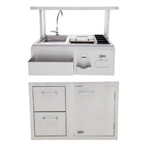 Combination Door/Drawer And Bar Center with Top Shelf Package Deal