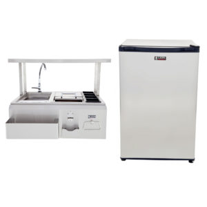 Refrigerator and Bar Center with Top Shelf Package Deal