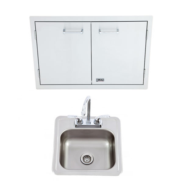 Double Door with Towel Rack + Bar Sink with Faucet (L3322 + 54167)