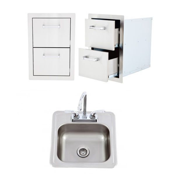 Double Drawer + Bar Sink with Faucet (L2374 + L55628)