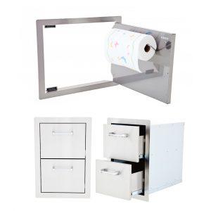 Horizontal Door w/ Towel Rack and Double Drawer Package